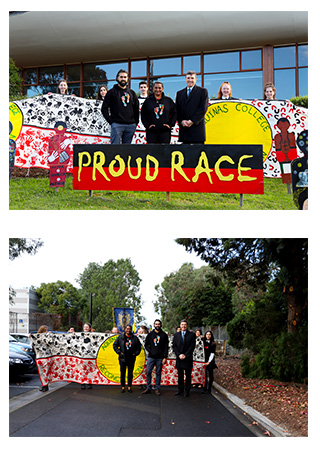 Images of students and representatives participating in Aquinas College's Long Walk