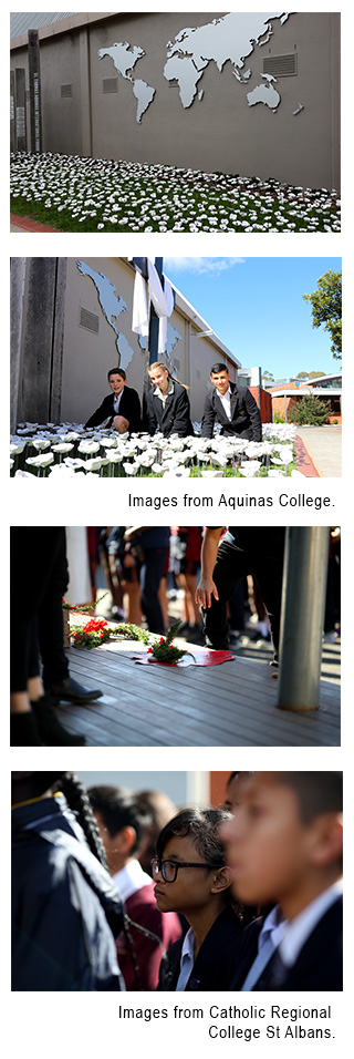 Images of students from Aquinas College and Catholic Regional College during Remembrance day