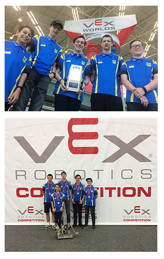 Students from Emmaus College, Vermont South at the VEX Robotics World Championship.