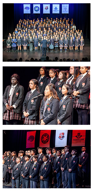 Images of students involed in the joint choir.