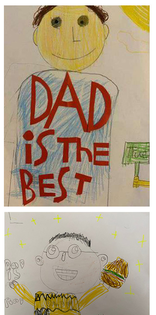 Student artwork of their dads.