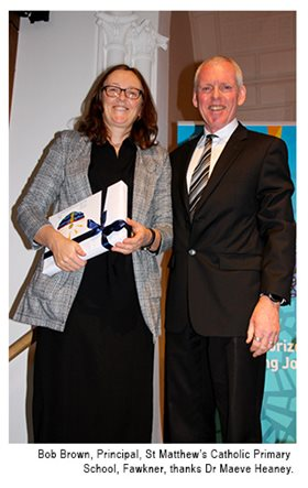 Bob Brown, Principal, St Matthew's Catholic Primary School, Fawkner, thanks Dr Maeve Heaney.